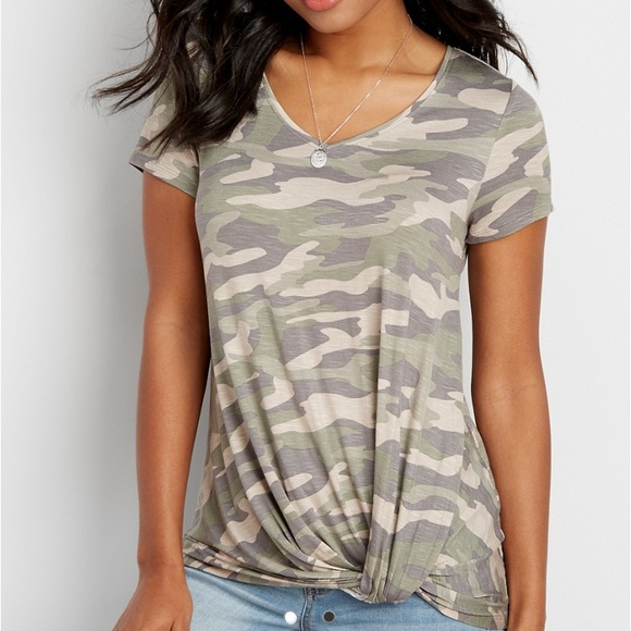 8f5d8697f The 24/7 Plus Size Camo Tee with Knot Hem. M_5aa5e2de72ea88c0e1ffd727